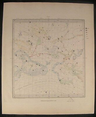 Star Charts Night Sky 1844 Set 6 hand color engraved antique SDUK celestial maps