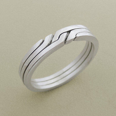 (RONRING 3) Unique Puzzle Rings - Sterling Silver - Any Size