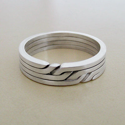 (RONRING 4) Unique Puzzle Rings - Sterling Silver - Any Size