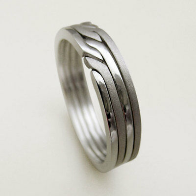 (RONRING 4 MATTE) Unique Puzzle Rings - Sterling Silver - Any Size