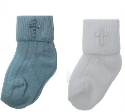Baby Christening Socks Girls Boys With Cross Newborn 0-18 months White or Sky