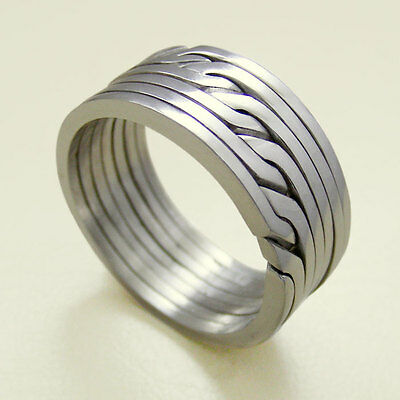 (RONRING 7) Unique Puzzle Rings - Sterling Silver - Any Size