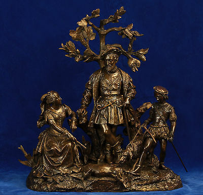 Large European Patinated Bronze Statue of King, Queen and Page with Dog