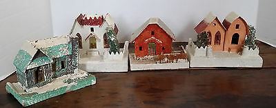 VINTAGE PUTZ CARDBOARD CHRISTMAS LIGHTED HOUSE ORNAMENT DECOR MADE IN JAPAN