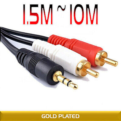 3.5mm AUX Jack To 2 RCA Audio Stereo Cable Adapter Splitter HDTV PC 1.5M 3 5 10M