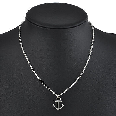 Fashion Unisex Cute Silver Anchor Pendant Necklace Jewelry Gift