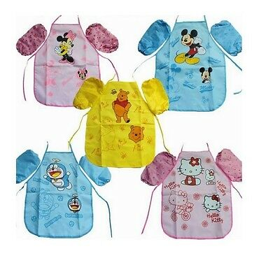 Kids Boys Girls Waterproof Cute Apron Printed  Painting Cooking - 2 sizes