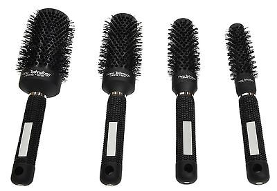 4pcs Black Ionic Round Ceramic Barber Hair Dressing Salon Styling Brush Comb