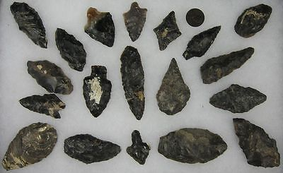 """19 Authentic Indian Arrowheads Points Up To 2 3 /4"""" Dark Color"""