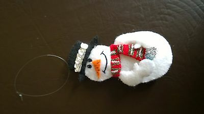 100% Handmade Christmas Tree Ornament/Decoration - Snowman Holding a Snowball