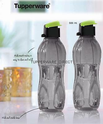 Tupperware Eco Black Flip Top Water Bottle - 500 ml - Set of 2- Free shipping