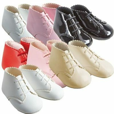 Baby Girls/boys Baypods Lace Up Pram Boots Bay Pods Shoes Pink/red Reborn 0-18M