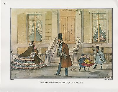 """1972 Vintage Currier /& Ives FASHION /""""5th AVENUE GRECIAN BEND/"""" COLOR Lithograph"""