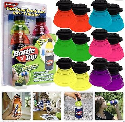 As Seen On TV Bottle Top Soda Can Snap On Toppers Set of 12/each box-NEW!