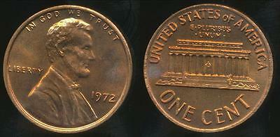 United States, 1972 One Cent, Lincoln Memorial - Uncirculated