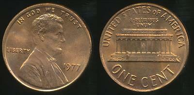United States, 1977 One Cent, Lincoln Memorial - Uncirculated