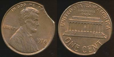 United States, 1974 One Cent, Lincoln Memorial, Clipped Planchit Error - Unc