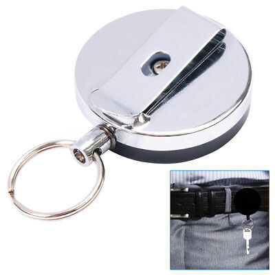 Heavy Duty Retractable Pull Chain ID Holder Reel Recoil Key Ring Belt Clip