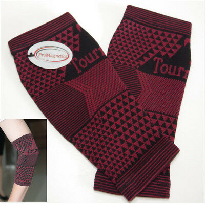 2 x Tourmaline Magnetic Self Heating  Elbow Support  Arthritis  Injury Sprain