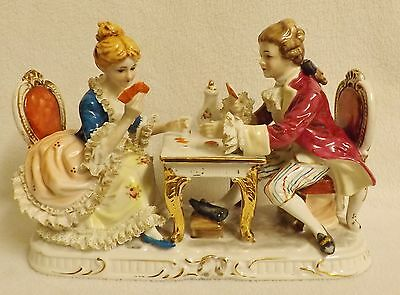 Wonderfully Detailed KPM  Figurine of a Couple Playing Cards