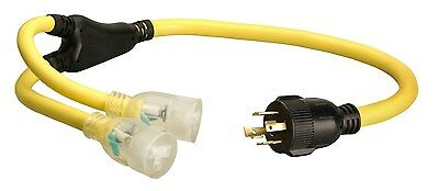 Coleman Cable 01934 3-Feet Generator Power Cord Adapter 10/4 Splitter Y Adapt...