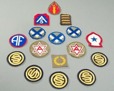 Lot of 16 US Military WWII Patches 63rd Infantry 5th Army Overseas Bars + MORE!