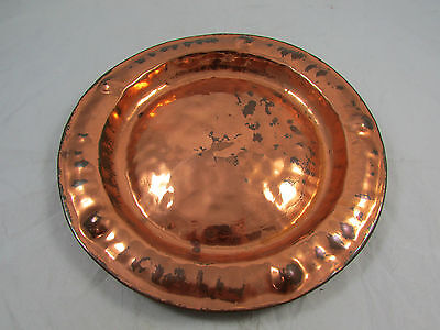 Vintage Arts Crafts Hammered Copper Wall Plaque Lombard England