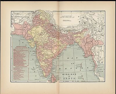 Missions in India 1891 antique color map locating American & European societies