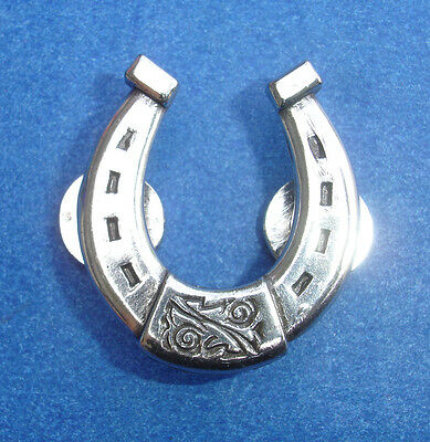 Western Equestrian Cowboy Single Horseshoes Polished Silver Concho
