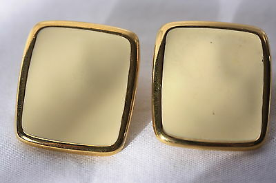 """""""Monet"""" Square Almond Colored Enamel Clip-On Earrings with Gold Tone"""