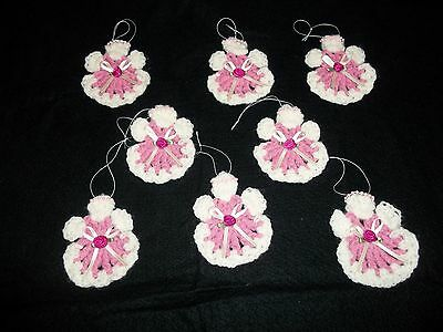 "8 Angels Crocheted Pink Off White Handmade Christmas Ornaments 3 1/2"" x 3"""