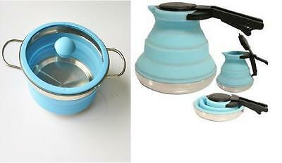Collapsible Pot And Kettle Camping Caravan 4X4 Folding Blue Pot And Kettle