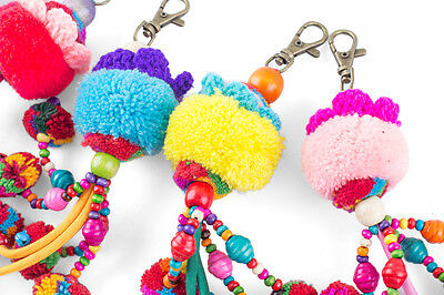 Multi Pompoms Tassels Keychain Made By Hmong Thailand Fair Trade