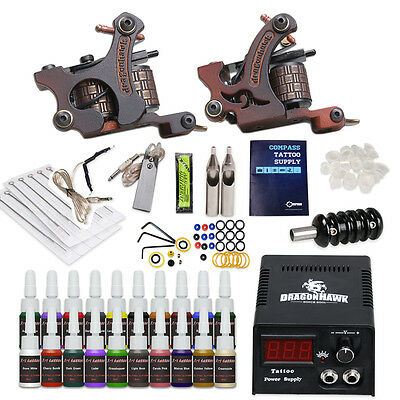 Complete Tattoo Kit 2 Machine Guns 20 Color inks Power Supply Needles HW-9VD-13