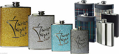 Hip Flask Stainless Steel with Leather & Pink Turquoise  Silver and Tartan - 8oz