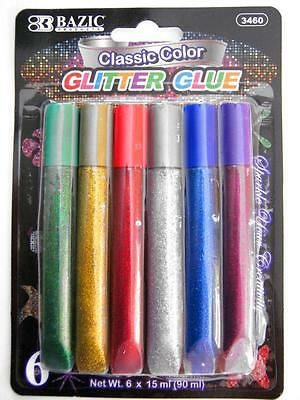 Pack of 6 BAZIC Glitter Glue Assorted Colours 15ml Art Craft Supplies FREE POST