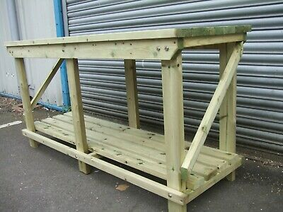 New hand made 4FT UPTO 10FT solid heavy duty, wooden work bench table with vice
