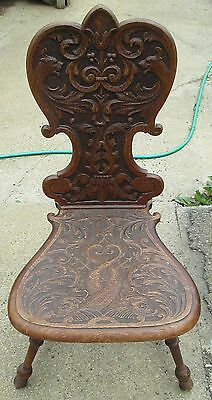Antique Hand Carved Wood Chair Unique Very Ornate
