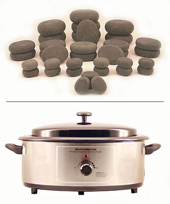 HOT STONE MASSAGE KIT 36 Basalt Stones (in storage bags) + 6.5 Quart Heater