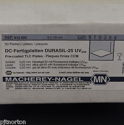 Chromatography Pre Coated TLC Plates 5 x 10cm Box of 50 Durasil 25 0.25mm UV