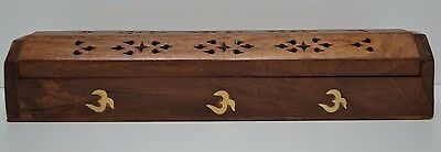 "NEW COFFIN BOX OM  incense burner for sticks and cones12"" wood Hand carved"