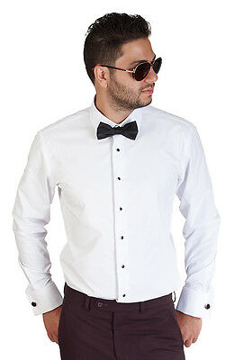 New Mens Slim Fit White Tuxedo Dress Shirt French Cuff Lay Down Formal By AZAR