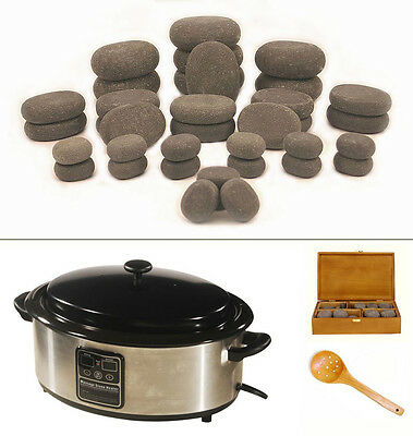 MassageMaster HOT STONE MASSAGE KIT: 36 Basalt Stones + 6.5 Quart Digital Heater