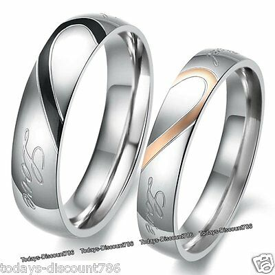 Love Heart Rings Promise Xmas Present Gift For Her Him Wife Husband Couple Women