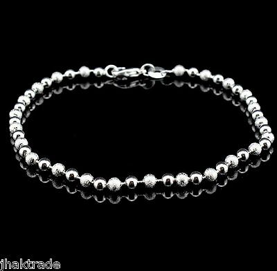 .925 Sterling Silver Sparkle and Shine Round Beads Anklet Ankle Bracelet - UK