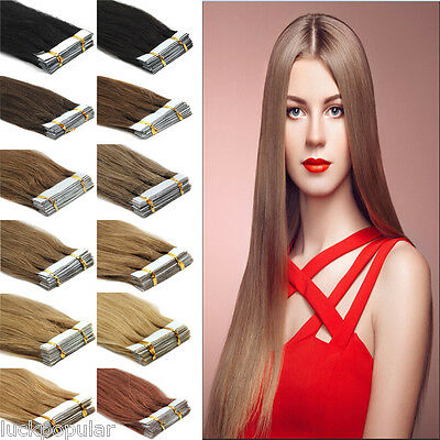 "16""18""20""22""24"" Tape In Real Remy Human Hair Extensions Straight Brazilian Hair"