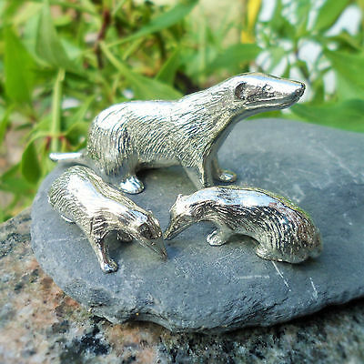 Trio of Pewter Badgers  (Tin content 92%; makes an ideal 10th anniversary gift)