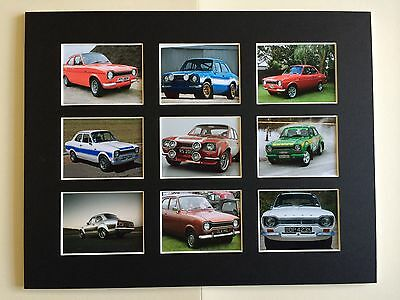 "FORD ESCORT MK1 RETRO POSTER PICTURE MOUNTED 14"" By 11"" READY TO FRAME"