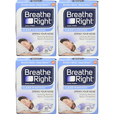4 Pack Breathe Right Nasal Strips Clear Large - 120 Strips