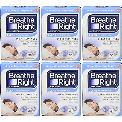 6 Pack Breathe Right Nasal Strips Clear Large - 30 Strips